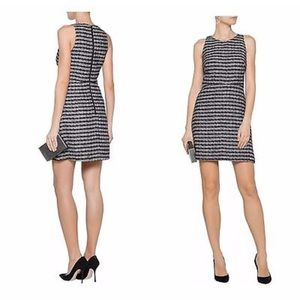 Milly Black And White Tweed Slim Shift Dress